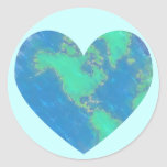 Pegatinas del corazón de la tierra pegatina redonda
