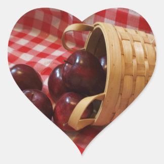 Pegatinas del corazón de las manzanas del país calcomanía de corazón