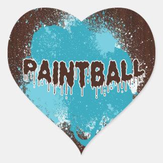 Pegatinas del corazón de Paintball Calcomania Corazon Personalizadas