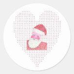Pegatinas del corazón de Papá Noel del amor en Pegatinas Redondas