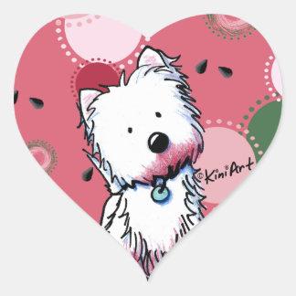 Pegatinas del corazón de Westie de la sandía Pegatina Corazón Personalizadas
