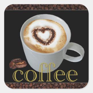 Pegatinas del corazón del amor del café pegatina cuadrada