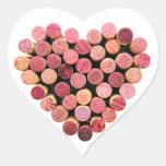 Pegatinas del corazón del corcho del vino