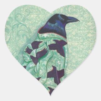 Pegatinas del corazón del cuervo del kimono pegatina en forma de corazón