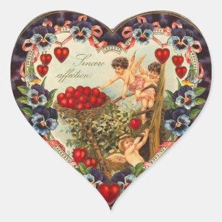 Pegatinas del corazón del Cupid del vintage Pegatina De Corazon