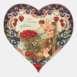 Pegatinas del corazón del Cupid del vintage Pegatina En Forma De Corazón