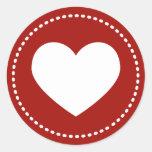 Pegatinas del corazón del el día de San Valentín Pegatina Redonda
