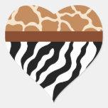 Pegatinas del corazón del estampado de animales pegatina en forma de corazón