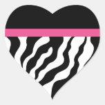 Pegatinas del corazón del estampado de zebra pegatina corazón