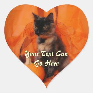 Pegatinas del corazón del gato de Halloween Pegatina En Forma De Corazón