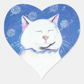 pegatinas del corazón del gato del diente de león