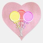 Pegatinas del corazón del Lollipop Pegatina En Forma De Corazón