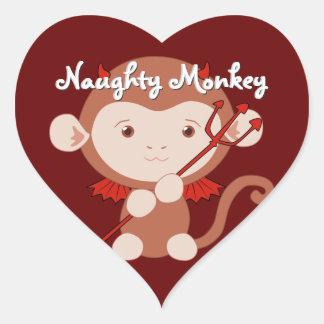 Pegatinas del corazón del mono del diablo pegatina en forma de corazón