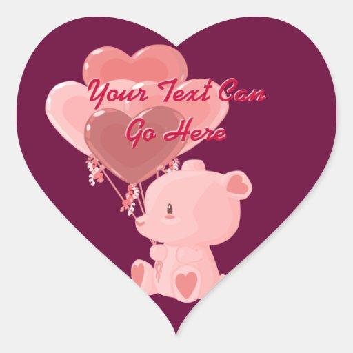 Pegatinas del corazón del oso de peluche del el pegatina en forma de corazón