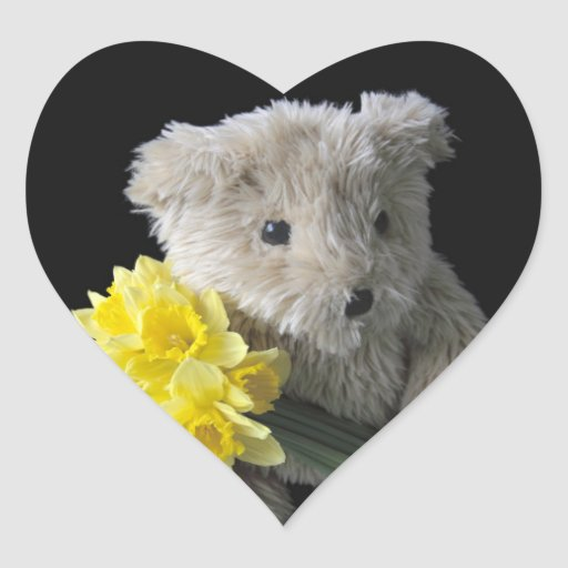 pegatinas del corazón del oso del narciso pegatina en forma de corazón