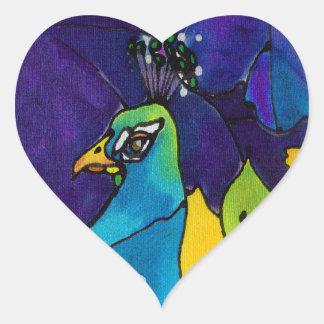 Pegatinas del corazón del pavo real pegatina en forma de corazón