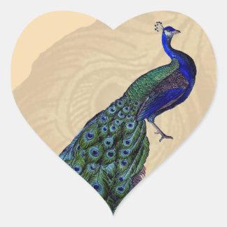 Pegatinas del corazón del pavo real del vintage colcomanias corazon personalizadas
