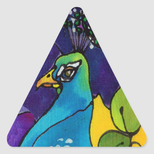 Pegatinas del corazón del pavo real pegatina triangular