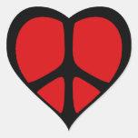 Pegatinas del corazón del signo de la paz