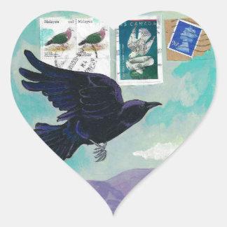 Pegatinas del corazón del viaje del cuervo