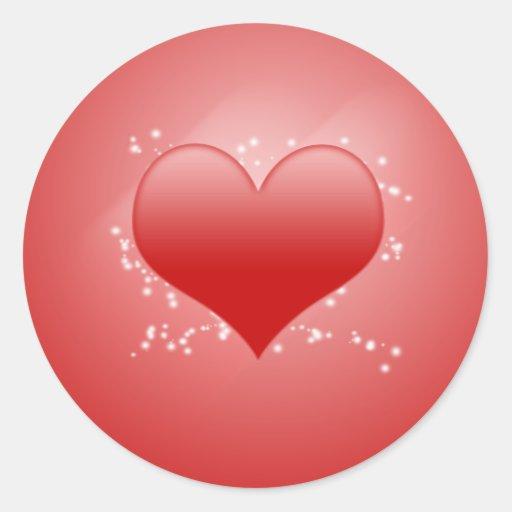 Pegatinas del corazón etiqueta redonda