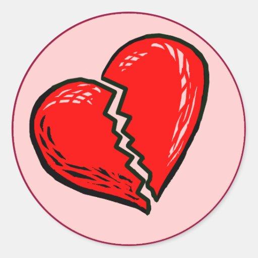 Pegatinas del corazón quebrado pegatina redonda