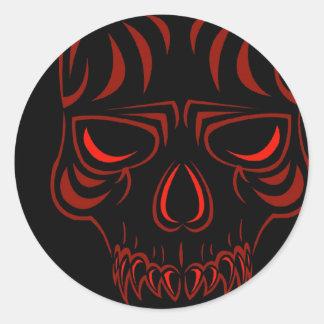 Pegatinas del cráneo de Fanged Pegatina Redonda
