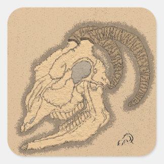 Pegatinas del cráneo de la cabra pegatina cuadrada