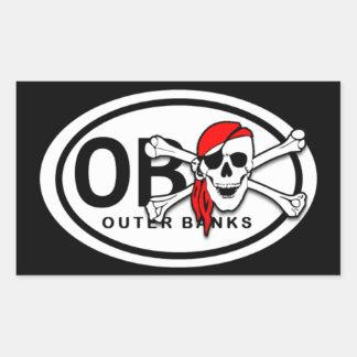 Pegatinas del cráneo de OBX y del pirata de la Pegatina Rectangular