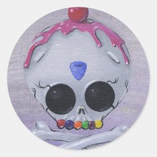 pegatinas del cráneo del azúcar etiquetas redondas