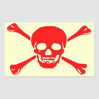 """Pegatinas del """"cráneo y de la bandera pirata"""" pegatina rectangular"""