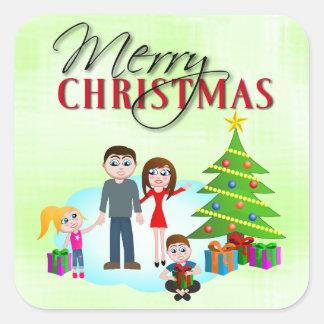 Pegatinas del cuadrado de la mañana de Navidad de Pegatina Cuadrada