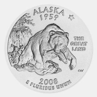 Pegatinas del cuarto del estado de Alaska Pegatina Redonda