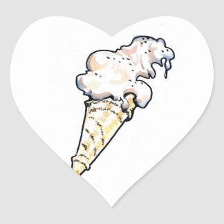 Pegatinas del cucurucho del helado pegatina en forma de corazón