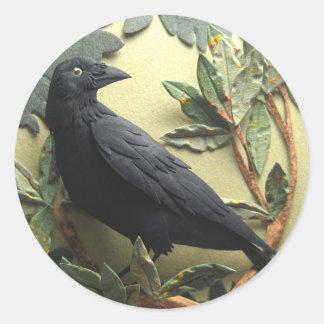 Pegatinas del cuervo etiquetas redondas