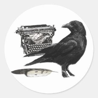 Pegatinas del cuervo del escritor pegatina redonda