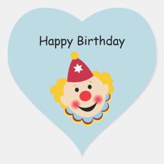 Pegatinas del cumpleaños de la cara del payaso calcomania de corazon