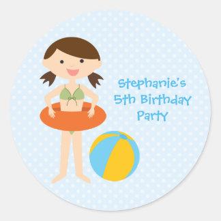 Pegatinas del cumpleaños de la fiesta en la etiqueta redonda