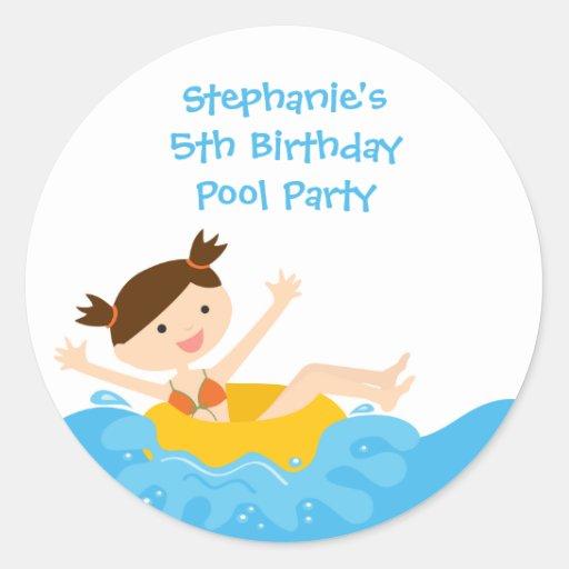 Pegatinas del cumpleaños de la fiesta en la etiquetas redondas