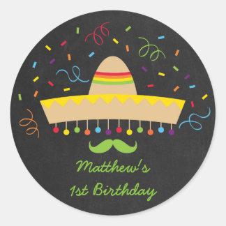 Pegatinas del cumpleaños de la fiesta pegatina redonda