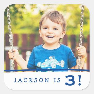 Pegatinas del cumpleaños de la foto/azul real pegatina cuadrada