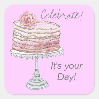 Pegatinas del cumpleaños de la torta del volante pegatina cuadrada