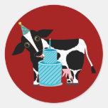 Pegatinas del cumpleaños de la vaca divertidos