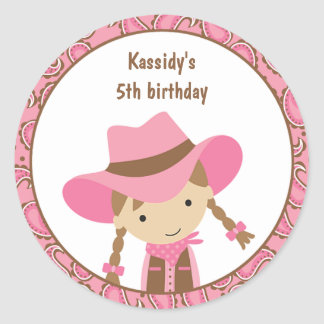Pegatinas del cumpleaños de la vaquera etiqueta redonda
