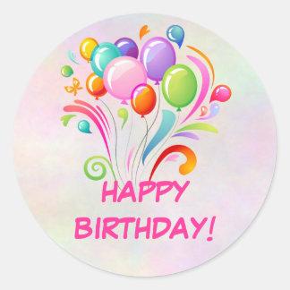 Pegatinas del cumpleaños de los globos pegatina redonda