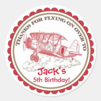 Pegatinas del cumpleaños del aeroplano del vintage pegatina redonda