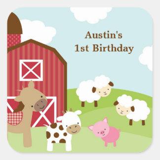 Pegatinas del cumpleaños del animal del campo pegatina cuadrada
