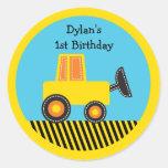 Pegatinas del cumpleaños del camión de la etiquetas redondas