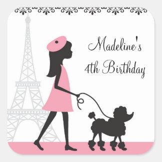Pegatinas del cumpleaños del caniche de París Pegatina Cuadrada