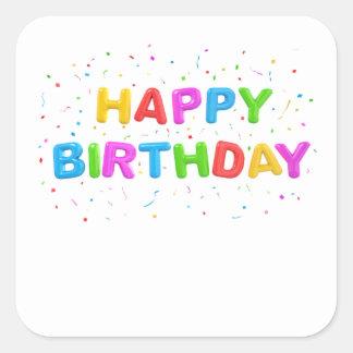 Pegatinas del cumpleaños del confeti pegatina cuadrada